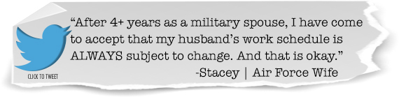 Tweet: As a #militaryspouse your husband's work schedule is ALWAYS subject to change ➽http://ctt.ec/q0bsW+ via @martinsburg_edu #airforce #popearmy